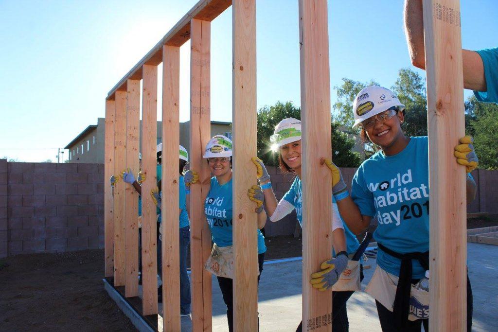 Volunteers at a Habitat Build
