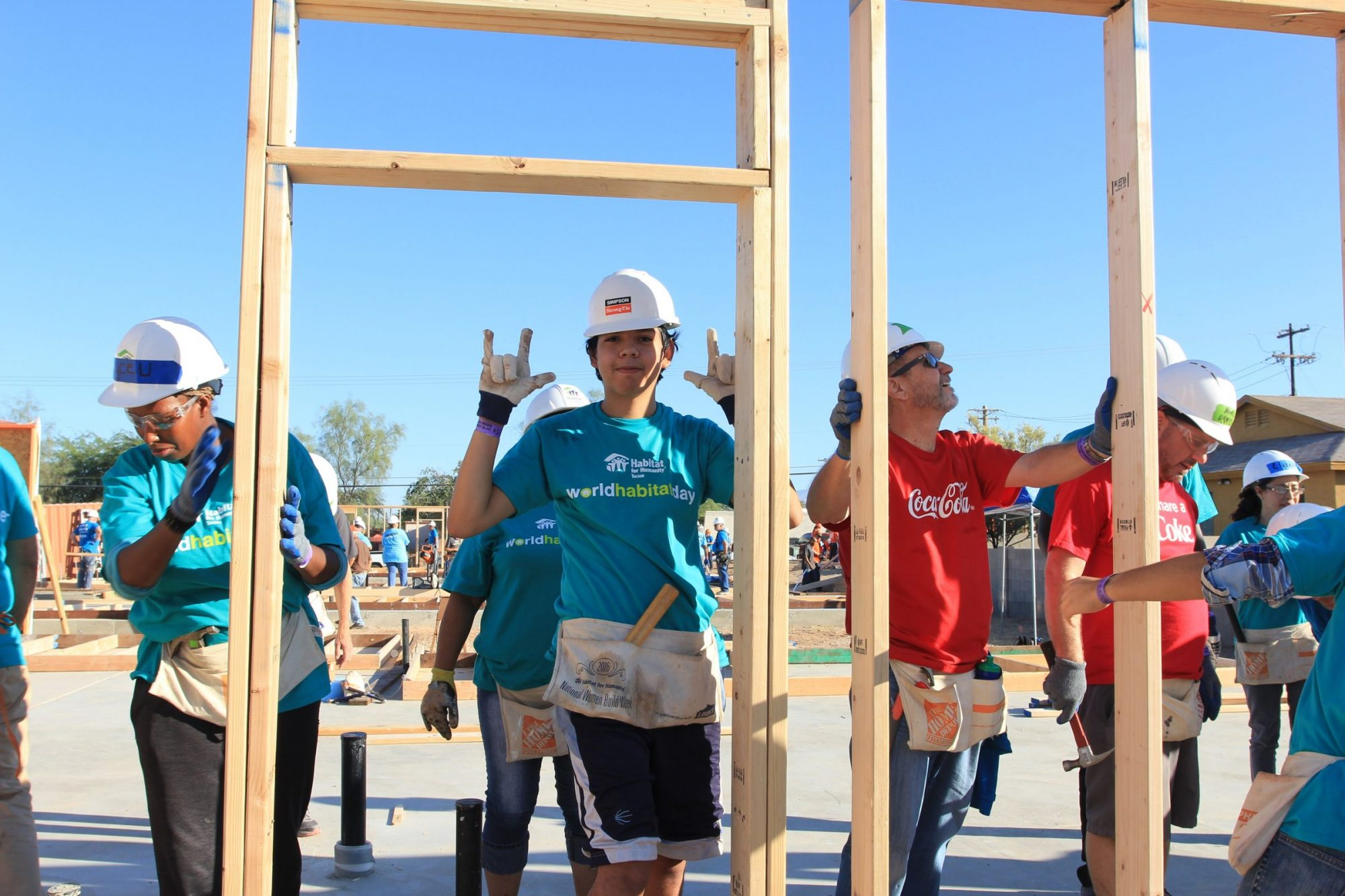 Volunteers on a Habitat Build
