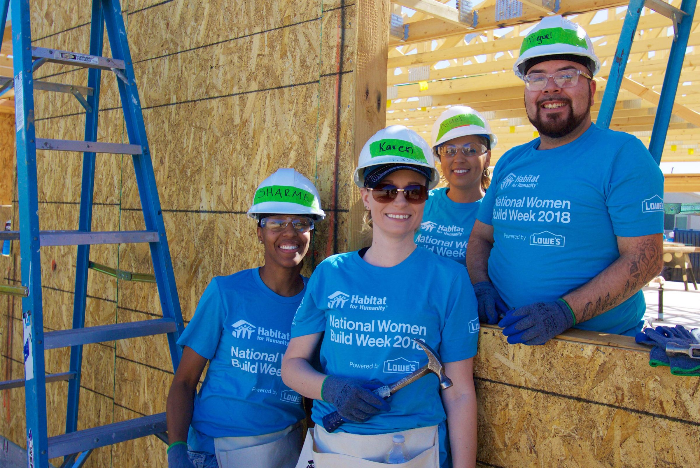 Volunteers at a themed Habitat Build
